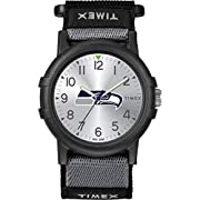Adjustable black & gray 20mm FastWrap strap with hook & loop closure fits up to 8-inch wrist circumference Silver-tone dial with Full Arabic numerals and team logo Black 38mm Resin Case with scratch-resistant acrylic lens Luminant hands Water resista...