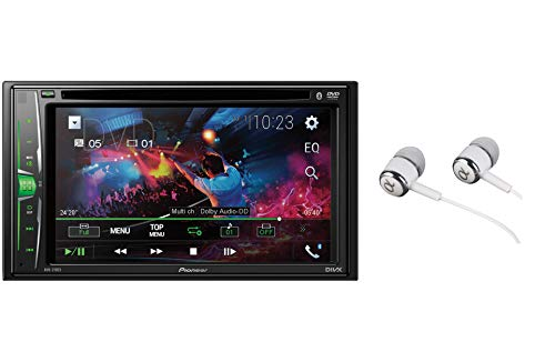 Pioneer AVH-210EX Double DIN Bluetooth In-Dash DVD/CD AM/FM Front USB Digital Media Car Stereo Receiver 6.2' WVGA Touchscreen Display, Apple iPhone and Android Music Support/FREE ALPHASONIK EARBUDS