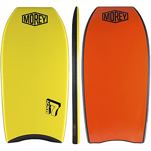Mach 7 Bodyboard (42 Inch) - PE Core, TC8 Deck, HDPE Slick, Single Power Rod Stringer, Crescent Tail, with Channels for Bodyboarding Surfing Waves Ocean Summer Fun Beach Man & Woman Water