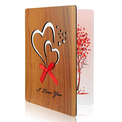 TUPARKA Tarjeta de felicitación de madera para el día del padre Te amo Tarjeta Imitación para aniversario, día del padre, cumpleaños, bodas y ocasiones especiales