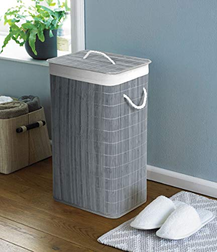 COUNTRY CLUB 124024870 Wäschekorb mit Deckel, Bambus, Grau, umweltfreundlich, 40 x 30 x 60 cm