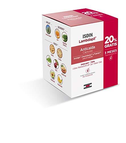 ISDIN Lambdapil Cápsulas Anticaída del Cabello, 180 Cápsulas, 20% Gratis, Aporta ingredientes para mantener un cabello saludable, 3 Meses Tratamiento