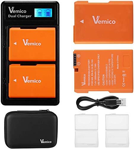 Vemico EN-EL14 EN-EL14A Caricabatterie 2x1500mAh Batteria Caricatore USB di Tipo-C LCD a Doppio Slot per Nikon D5100/D5300/D5500/D3100/D5600/D3200/D3300/D5200/Coolpix P7000/P7100/P7200/P7700/P7800