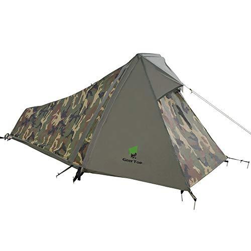 GEERTOP Bivvy Biwaksack Trekkingzelt Campingzelt Zelt Minipack Leicht - 213 x 101 x 91 cm H (1,5kg) -1 Person 3 bis 4 Jahreszeiten für Outdoor-Camping Wandern Reisen und Klettern (Camouflage)