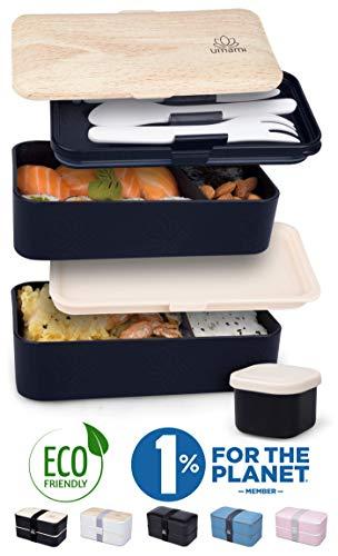 Umami® Brotdose Schwarz Bamboo | Lunchbox Mit 2 Luftdichten Fächern Inklusive 3-Teiligem, Robusten Besteck & Salatsoßen-Dose | BPA-Frei | Für Erwachsene & Kinder | Spülmaschinen- & Mikrowellenfest