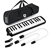 Vangoa 32 Key Melodica, Musical Instrument Air Piano Keyboard, Melodicas with Carrying Bag, Double Mouthpieces, Wipe Cloth, Key Stickers, Long Tubes (Black)