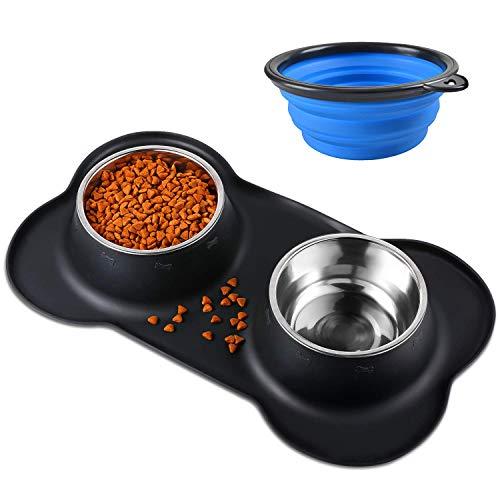 Bonve Pet 2x400ML Comedero para Perro Gato y Mascotas de Acero...