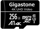 Gigastone Micro sd 256 GB, A1 U3 4K, per Telefono Fotocamere Videocamere Dashcam GoPro DJI Drone Fino a 100/60 MB/s (R/W) con Adattatore Scheda Micro SD