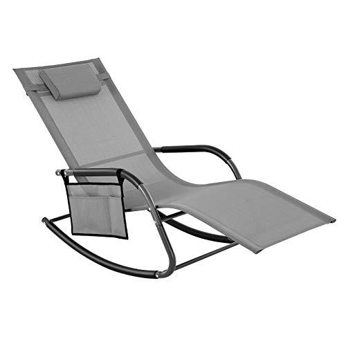 SONGMICS Gartenstuhl, Sonnenliege, Schaukelstuhl mit Kopfstütze und Seitentasche, Eisengestell, Kunstfasergewebe, atmungsaktiv, komfortabel, bis 150 kg belastbar, grau GCB23GY