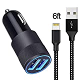 Car Charger Compatible with iPhone XR/XS MAX/X / 8/8 Plus / 7/6 / 6s Plus 5S 5 5C SE,iPad,iPad Mini and More, 3.1A Dual Port USB Car Charger Adapter with 6ft Nylon Braided Charging Cable