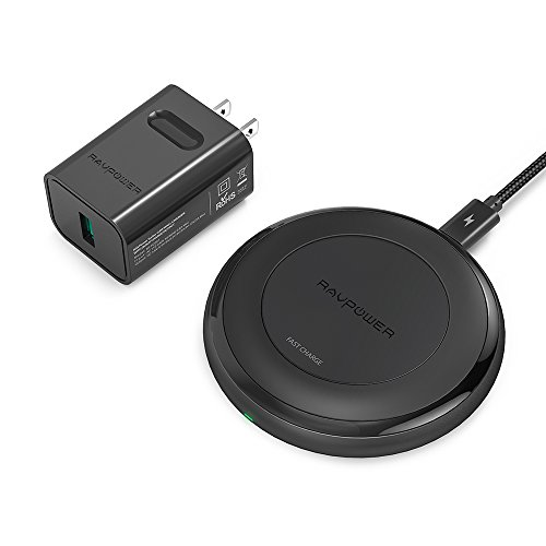 Fast Wireless Charger RAVPower 7.5W for iPhone X, 8 & 8 Plus with HyperAir Technology, 10W Qi Wireless Charging Pad for Galaxy S8, S7 & Note 8 and All Qi-Enabled Devices (QC 3.0 Adapter Included)