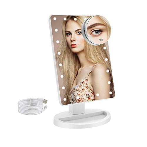 COSMIRROR Lighted Makeup Vanity Mirror with 10X Magnifying Mirror, 21 LED Lighted Mirror with Touch Sensor Dimming, 180Adjustable Rotation, Dual Power Supply, Portable Cosmetic Mirror (White)