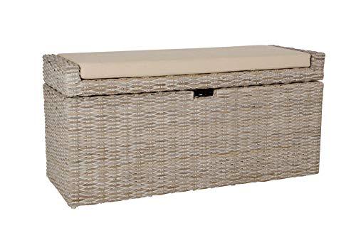 VIVANNO Sitzbank Wäschebox Combo u. Kissen Rattan, 105cm, White Wash