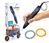 SCRIB3D Advanced 3D Printing Pen with Display - Includes Advanced 3D Printing Pen, 3 Starter Colors of PLA Filament Stencil Book + Project Guide, and Charger