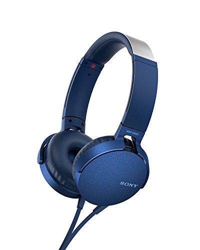 Sony MDR-XB550AP Cuffie On-Ear Extra Bass con Microfono, Archetto Regolabile, Blu