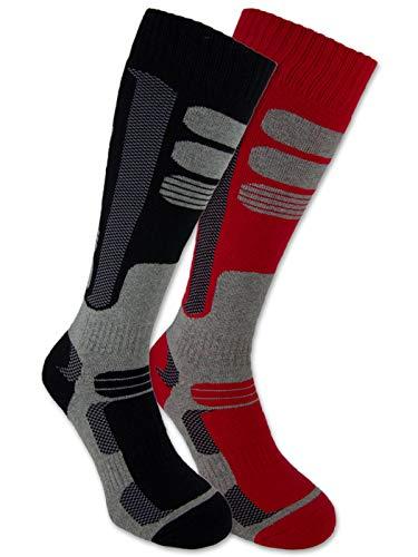 sockenkauf24 - 2 paia di calze termiche da sci, unisex, traspiranti, Adulti (unisex), nero e rosso.,...