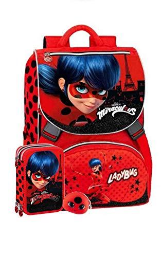 Schoolpack Zaino Scuola Miraculous Ladybug Estensibile + Gadget + Astuccio 3 Zip