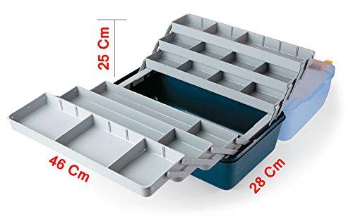 Lineaeffe Cassetta Porta Accessori Pesca Made Italy 46x28x25cm 6 Ripiani