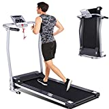 fannay Folding Treadmill for Home, Portable Electric Treadmill Exercise Machine with LCD Display & Pulse Grip, Running Walking Jogging Exercise Fitness Machine for Home Gym Easy Assemble (Silver)