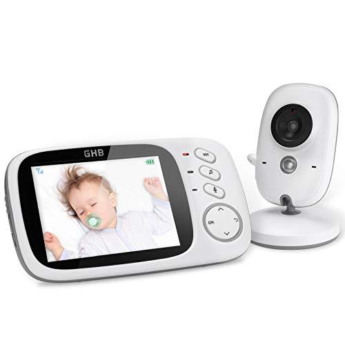 """GHB Vigilabebés Inalambrico Bebé Monitor Inteligente con LCD 3.2"""" y Cámara Visión Nocturna"""