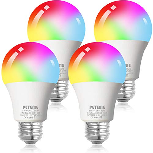 Smart WiFi Alexa Light Bulb, Peteme Led RGB Color Changing Bulbs, Compatible with Alexa, Siri, Echo, Google Home...