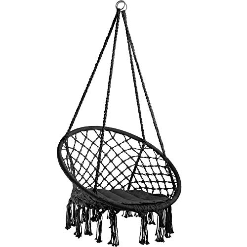 TecTake 800689 Hängesessel zum Aufhängen, inkl. bequemes Sitzkissen, max. 100 kg belastbar, für draußen und drinnen geeignet - Diverse Farben - (Schwarz | Nr. 403115)