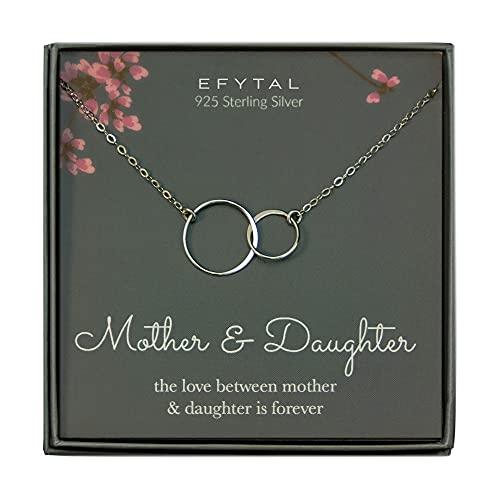 EFYTAL Mother Daughter Necklace - Sterling Silver Two...