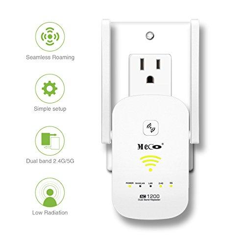 Repetidor Wifi MECO AC1200 Wifi Repetidor Amplificador Señal Extensor de Red Wifi Banda Dual 2.4 GHz y 5 GHz, Wifi Roaming Transparente Proteja sus datos, con 2 Puertos Ethernet Blanco