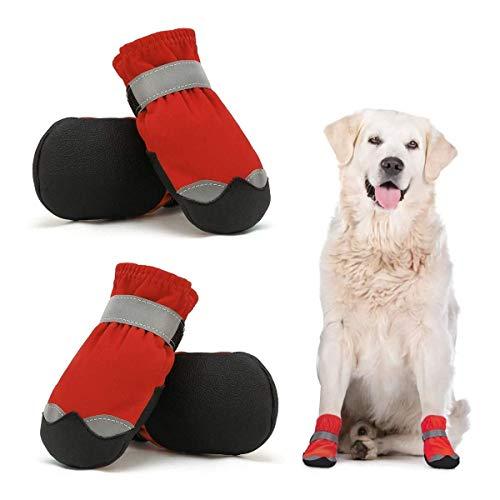 Dociote Scarpe per Cani Impermeabili Set di 4, Stivali Protettivi per Cani con Velcro Riflettente Antiscivolo, Scarpe Resistenti per Cani di Taglia Media Rosso 4#