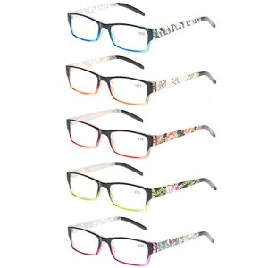 Reading Glasses 5 Pack Fashion Spring Hinge Readers With Beautiful Patterns for Women