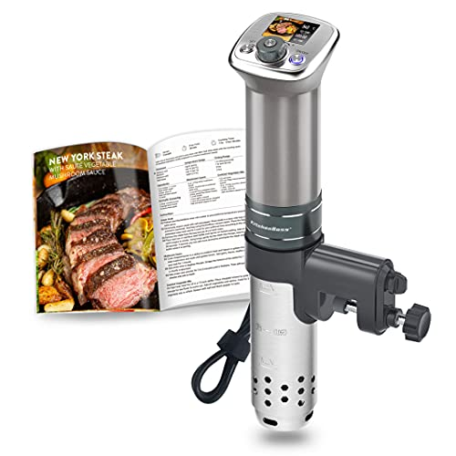 Sous Vide Cooker Macchina Roner: G320 Pro Colore LCD Circulatore di Immersione con Ricette del Programma | Ultra-Silenzioso | Motore CC senza spazzole | 1100 Watt | IPX7 Impermeabile | da KitchenBoss