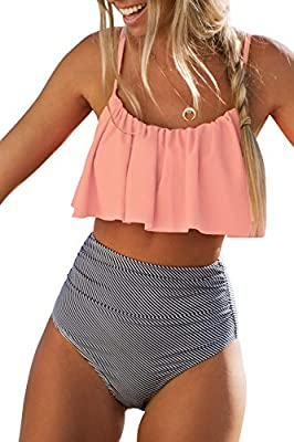 Design: Falbala,High-waisted fit and High leg cut About Cup Style: With padding bra Garment Care: Regular Wash. Recommend with Cold Water. Do not Use Bleach. Do not Tumble Dry. Occasion: Best Holiday Gifts for Mom, Wife, Girlfriend or Women You Love....