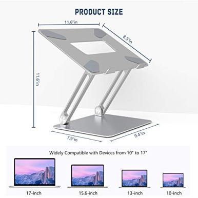 Adjustable-Laptop-Stand-FLOPAD-Ergonomic-Standing-Desk-with-Heat-Vent-Laptop-Riser-with-Anti-Slip-Silicone-Compatible-with-10-17-MacBook-ProAir-Dell-HP-Lenovo-and-Surface-Laptops-Silver