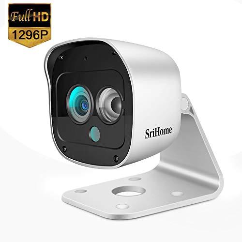 SriHome - Telecamera di sorveglianza Wi-Fi, telecamera di sorveglianza esterna 1296P, impermeabile IP66, webcam WiFi senza fili con rilevamento di movimento, visione notturna, audio bidirezionale