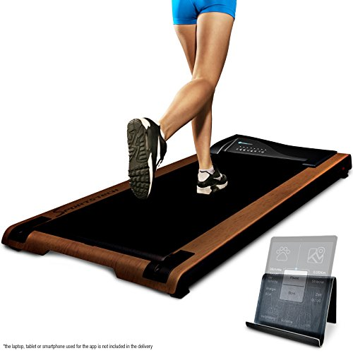 DESKFIT DFT200 Office Desk Treadmill, Fit & healthy at the office and at home, Move and work at the same time, no more back pain, With practical tablet holder, remote control and app (Dark brown)