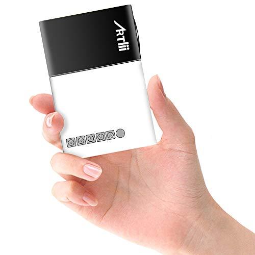 Artlii Mini Projecteur YG300, LED videoprojecteur Portable,Pico projecteur de Poche Compatible HDMI/USB/Smartphone, pour Cadeau pour Enfants,Loisirs Maison Film Theatre,Video