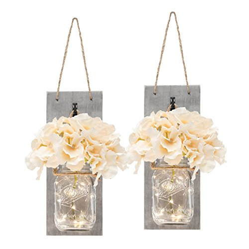 Rustic Mason Jar Wall Decor - Distressed Wood Wall Sconces with...
