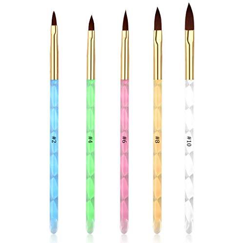5Pcs UV Gel Acrylic Nail Brush Set for Nail Art Tips Builder and Nail Painting