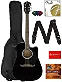 Fender FA-125CE Dreadnought Cutaway Acoustic-Electric Guitar - Black Bundle with Gig Bag, Strap, Strings, Picks, Fender Play Online Lessons, and Austin Bazaar Instructional DVD