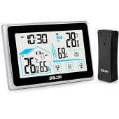 BACKTURE Termometro Igrometro Digitale, Stazione Meteorologica con Wireless Sensore, Termoigrometro Digitale con Schermo LCD per Interno Esterno Temperatura e Umidita Misura (A-Nero)