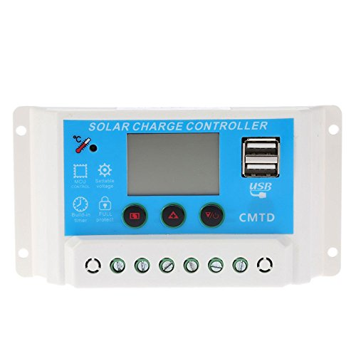 Anself 12V/24V ソーラー充電コントローラ LCDディスプレイ オートレギュレータタイマー ソーラーパネル バッテリー ランプ 過負荷保護10A / 20A「2種選択可能」