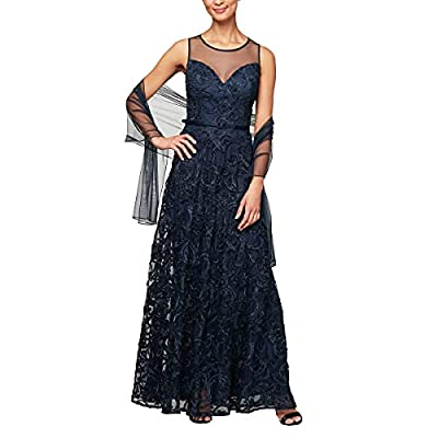 100% polyester imported zipper closure hand wash only long sleeveless embroidered a-line gown sweetheart illusion neckline includes structured belt and shawl style #82122212 Weave type: Knit