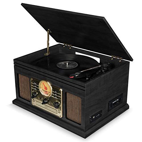 Platine Vinyle, Tourne Disque Vintage Bluetooth avec Enceintes - Radio FM/Lecteur de CD/Cassette/Carte SD/USB MP3 (Gris)