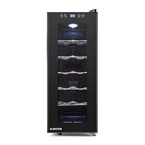 Klarstein Vinamora - Frigorifero per Vini e Bevande, 35 L, 12 Bottiglie, LED, Classe Energetica B, 11 o 18C, 70 Watts, 5 Ripiani in Acciaio Inox, Display LCD, Pannello Touch