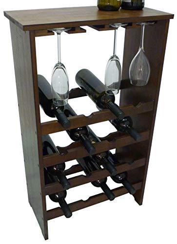 Mobile porta bottiglie bicchieri cantinetta vino in legno di bamb scuro noce marrone 16 posti con porta bicchieri e ripiano per enoteca cantina salotto portabottiglie porta flute calice ballon