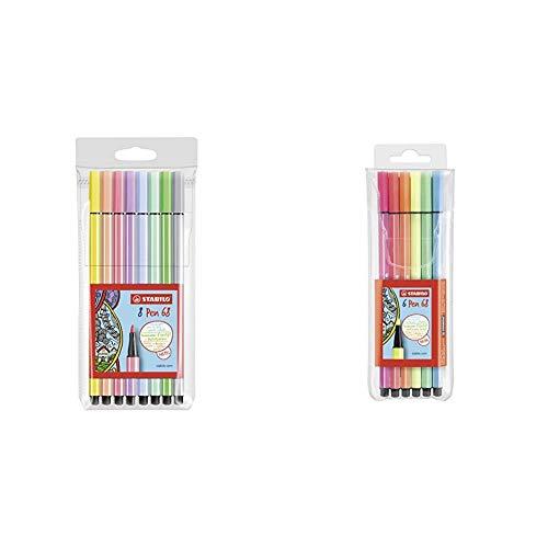 Stabilo Pen 68 Astuccio da 8 Colori Pastello, 8 Pezzi & Pen 68 Pennarelli NEON COLORS colori...