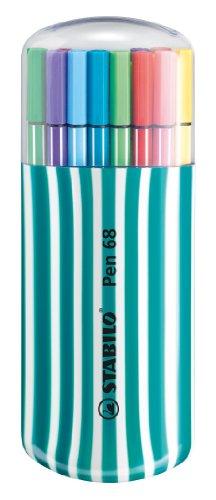 Pennarello Premium - STABILO Pen 68 - Box Zebrui in Turchese - Astuccio con 20 Coloriassortiti
