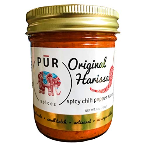 PUR Spices Original Harissa Paste I Middle Eastern Hot Sauce I Used for Cooking and Dipping I No sugar added, preservative and additive free, spicy chili pepper and garlic paste I 8oz single