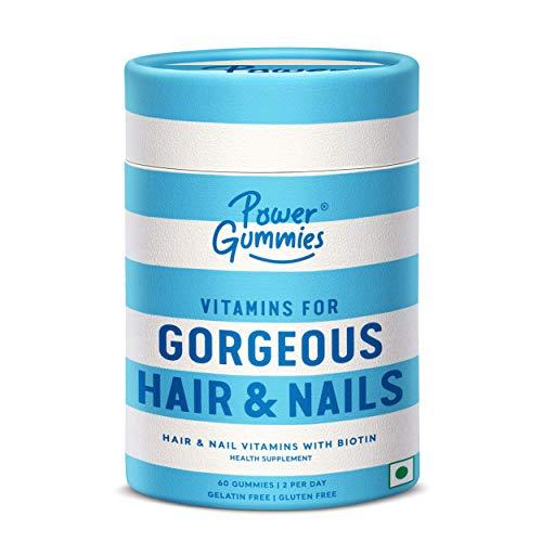 Power Gummies Hair & Nail Vitamins with Biotin & 10 Essential Vitamins - 60 (blue) for Men & Women. Vitamin A to E, Biotin, Zinc & Folic Acid.