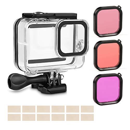 Rhodesy Custodia Protettiva Impermeabile per GoPro Hero 8 Black, Custodia Protettiva + 3 Pack Filtro Immersione per GoPro Action Camera, Impermeabile & Migliora Colori